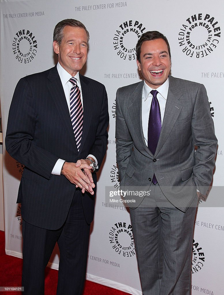 Television journalist Brian Williams (L) and television host/actor Jimmy Fallon attend Late Night With Jimmy Fallon & Brian Williams at The Paley Center for Media on May 27, 2010 in New York City.