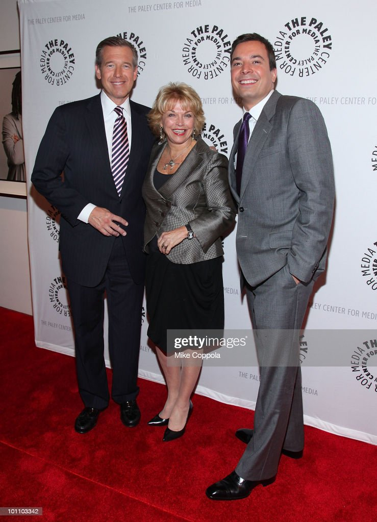 Television journalist Brian Williams, president & CEO of The Paley Center for Media Pat Mitchell, and television host/actor Jimmy Fallon attend Late Night With Jimmy Fallon & Brian Williams at The Paley Center for Media on May 27, 2010 in New York City.