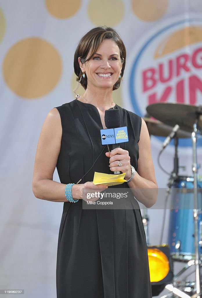 Television journalist Elizabeth Vargas performs on ABC's 'Good Morning America' at Rumsey Playfield, Central Park on July 22, 2011 in New York City.