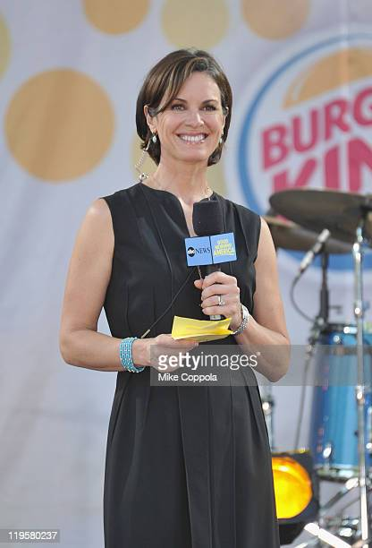 Television journalist Elizabeth Vargas performs on ABC's 'Good Morning America' at Rumsey Playfield Central Park on July 22 2011 in New York City