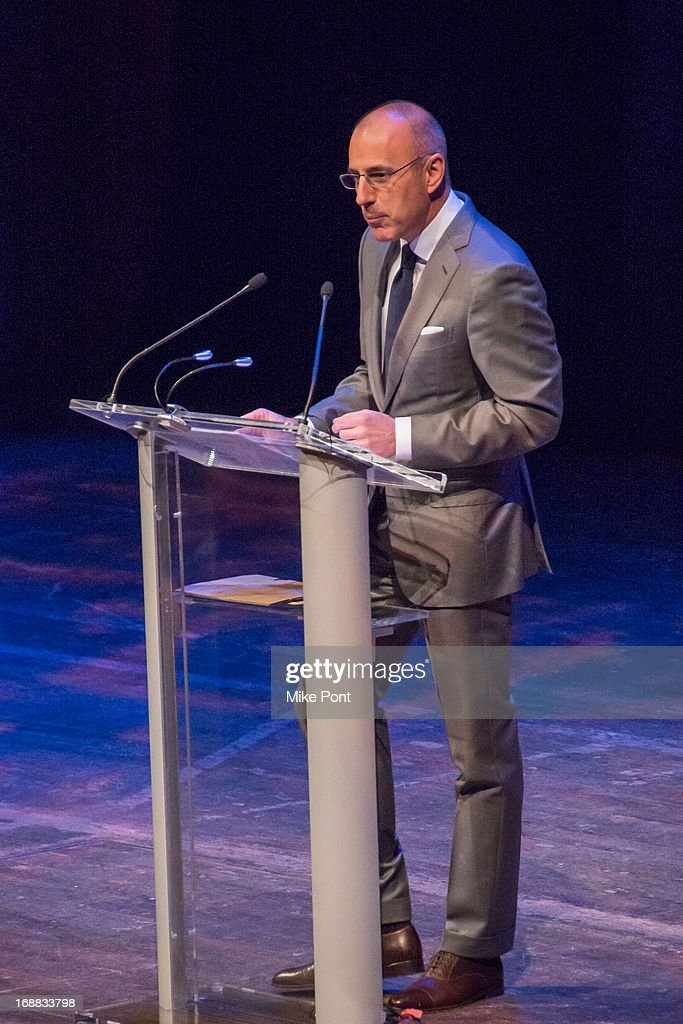 Television Journalist Matt Lauer speaks at the Dan Brown 'Inferno' Book Launch Event at Avery Fisher Hall at Lincoln Center for the Performing Arts on May 15, 2013 in New York City.