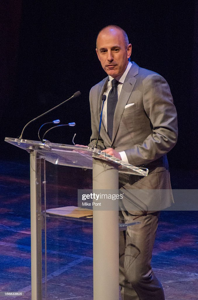 Television Journalist <a gi-track='captionPersonalityLinkClicked' href=/galleries/search?phrase=Matt+Lauer&family=editorial&specificpeople=206146 ng-click='$event.stopPropagation()'>Matt Lauer</a> speaks at the Dan Brown 'Inferno' Book Launch Event at Avery Fisher Hall at Lincoln Center for the Performing Arts on May 15, 2013 in New York City.