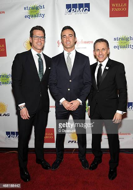 Television journalist Thomas Roberts Patrick Abner and PFLAG National Executive Director Jody M Huckaby attend the 7th Annual PFLAG National Straight...