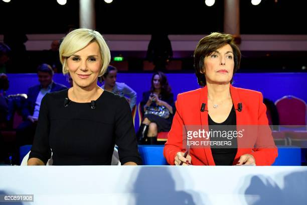 Television journalists Laurence Ferrari and Ruth Elkrief are pictured on the set prior to the second televised debate of the rightwing Les...