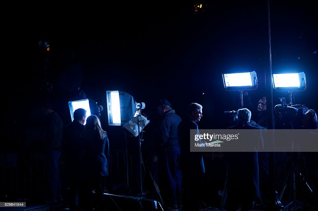 Television media broadcast from outside the Centre College auditorium setting for Vice President Joe Biden and Paul Ryan Vice Presidential Debate at...
