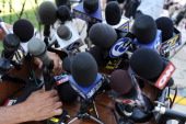 Television media setup microphones out front of the Centre County Courthouse prior to the first day of former Penn State assistant football coach...