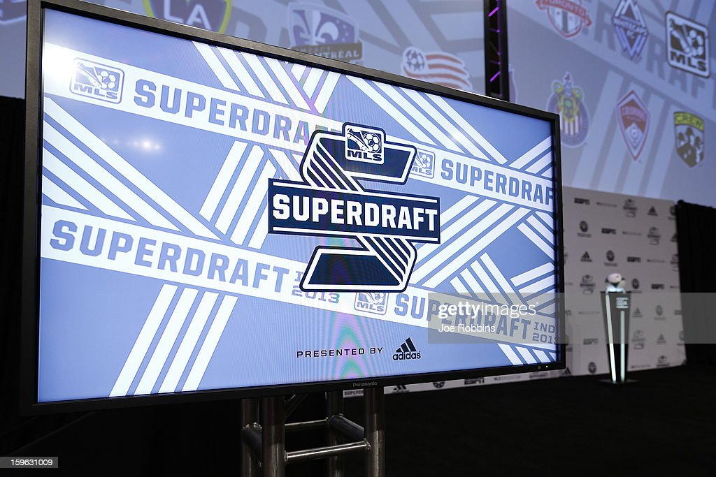 A television monitor is seen prior to the 2013 MLS SuperDraft Presented by Adidas at the Indiana Convention Center on January 17, 2013 in Indianapolis, Indiana.