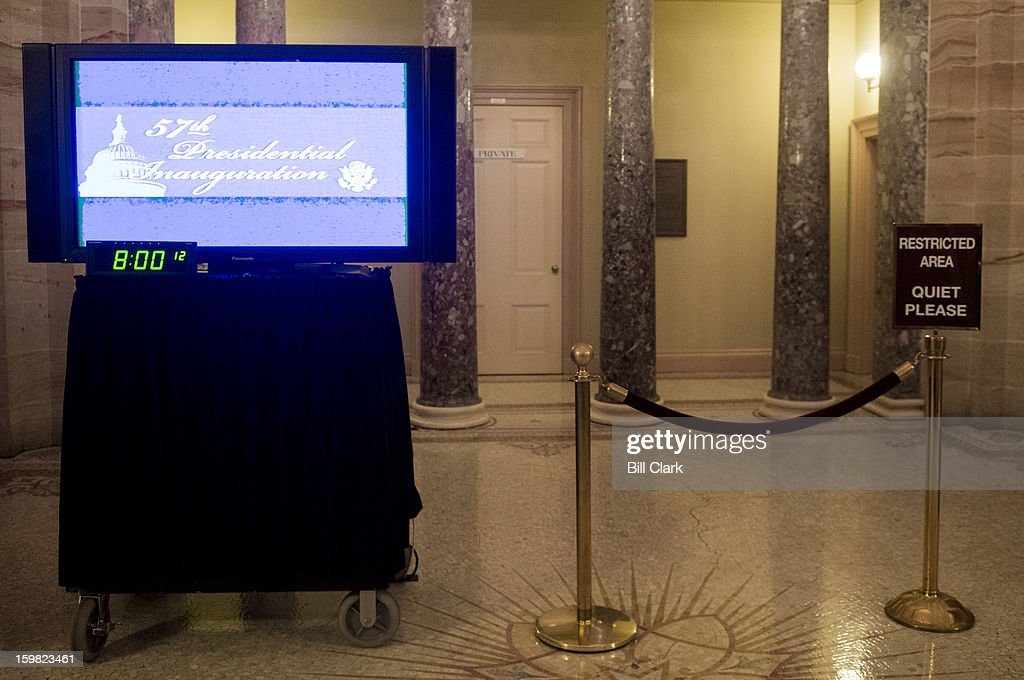 A television monitor sits ready to air President Barack Obama's inauguration on the second floor of the Capitol across from the Old Senate Chamber on Monday morning, Jan. 20, 2013.