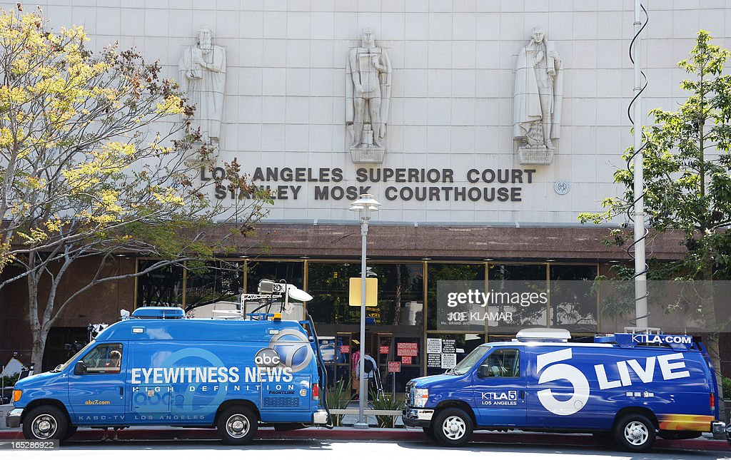 Television news broadcasting vans are parked outside of Los Angeles Superior Court where media are reporting from on the first day of trial of Katherine Jackson and Michael's children against concert promoter AEG Live at Los Angeles Superior Court on April 02, 2013 in Los Angeles, California. Jackson heirs reportedly will ask the jury for $40 billion in damages against AEG Live. They blame the company for Dr. Conrad Murray's ill-fated propofol treatment of the late King of Pop.