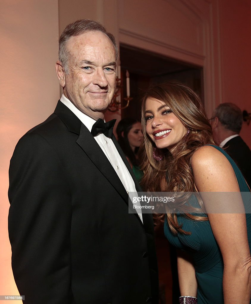 Television news commentator Bill O'Reilly, and actress Sofia Vergara attend the Bloomberg Vanity Fair White House Correspondents' Association (WHCA) dinner afterparty in Washington, D.C., U.S., on Saturday, April 27, 2013. The 99th annual dinner raises money for WHCA scholarships and honors the recipients of the organization's journalism awards. Photographer: Andrew Harrer/Bloomberg via Getty Images