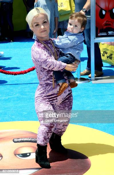 Television personaity Terra Jole and Grayson Gnoffo attend the premiere of Columbia Pictures and Sony Pictures Animation's 'The Emoji Movie' at...
