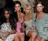Television personalites Nicole 'Snooki' Polizzi Jenni 'J Wow' Farley Paris Hilton and Nicky Hilton attend the Katy Perry 'California Gurls' post...