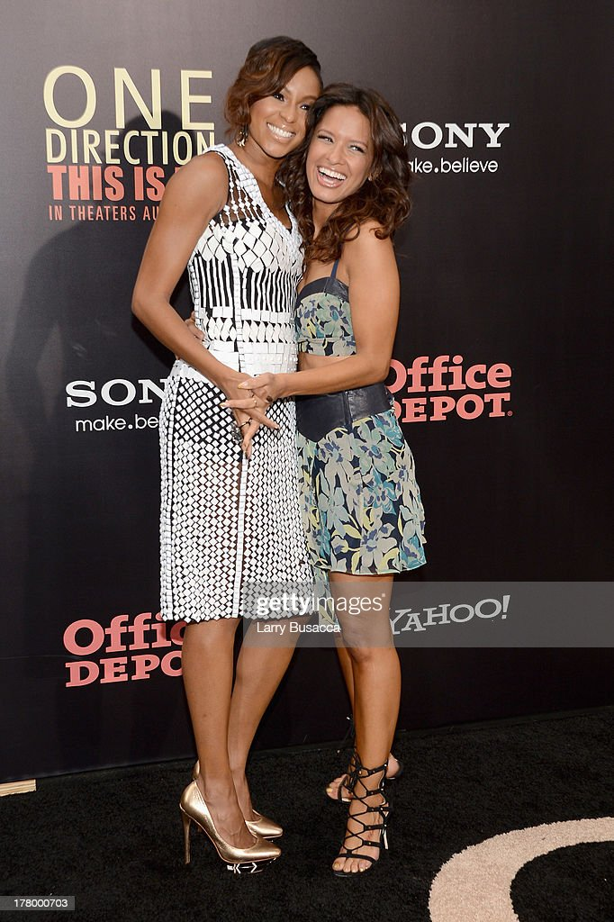 Television personalities Alicia Quarles (L) and Rocsi Diaz attend the New York premiere of 'One Direction: This Is Us' at the Ziegfeld Theater on August 26, 2013 in New York City.