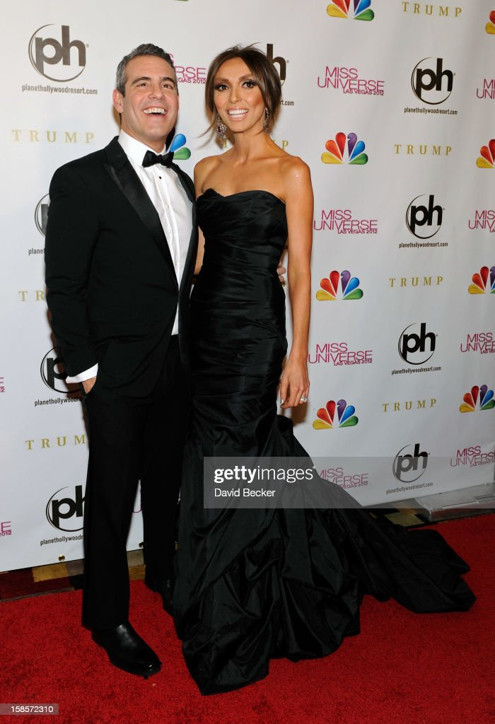 Television personalities and pageant co-hosts Andy Cohen (L) and Giuliana Rancic arrive at the 2012 Miss Universe Pageant at Planet Hollywood Resort & Casino on December 19, 2012 in Las Vegas, Nevada.