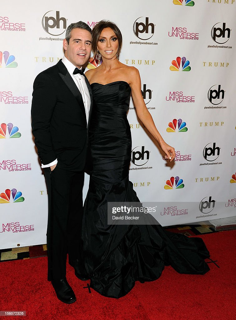Television personalities and pageant co-hosts Andy Cohen (L) and <a gi-track='captionPersonalityLinkClicked' href=/galleries/search?phrase=Giuliana+Rancic&family=editorial&specificpeople=556124 ng-click='$event.stopPropagation()'>Giuliana Rancic</a> arrive at the 2012 Miss Universe Pageant at Planet Hollywood Resort & Casino on December 19, 2012 in Las Vegas, Nevada.