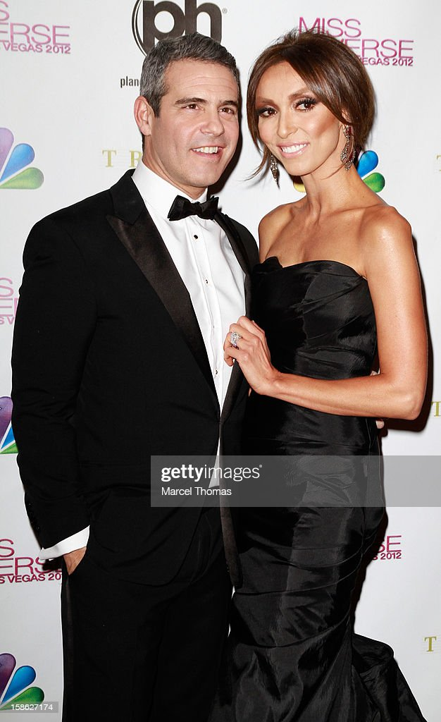Television personalities and pageant co-hosts Giuliana Rancic and Andy Cohen arrive at the 2012 Miss Universe Pageant at Planet Hollywood Resort & Casino on December 19, 2012 in Las Vegas, Nevada.