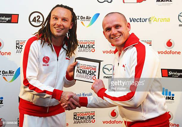 Television personalities 'Bill and Ben' pose backstage before presenting the award for Best Dance/Electronica Album during the 2009 Vodafone Music...
