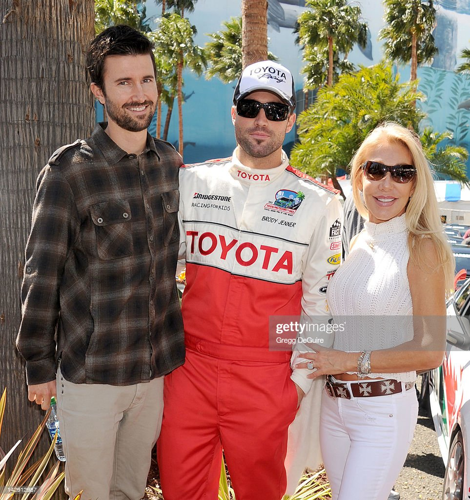 Television personalities Brandon Jenner, Linda Thompson and Brody Jenner at the 36th Annual 2012 Toyota Pro/Celebrity Race on April 14, 2012 in Long Beach, California.