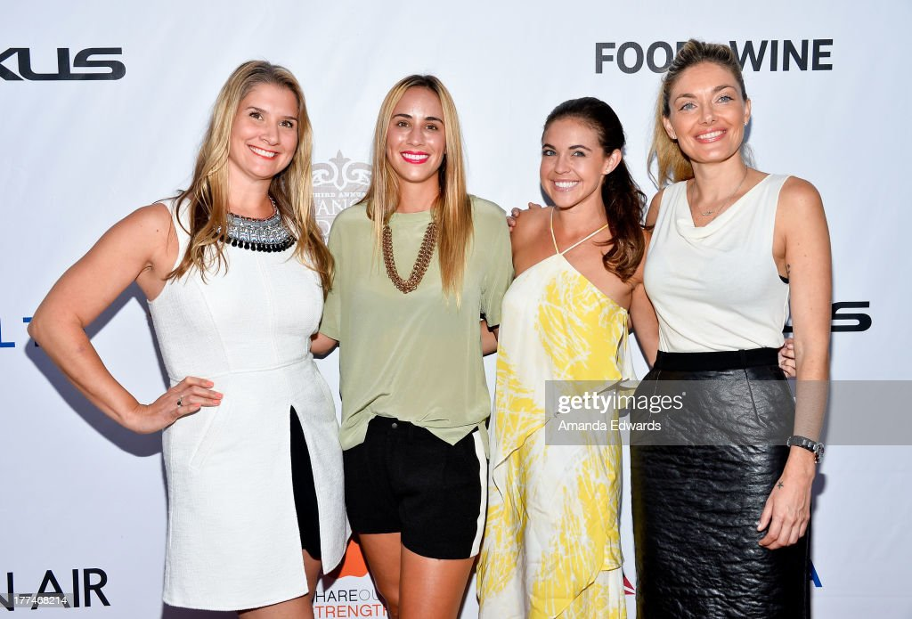 Television personalities Brenda Urban, Kat Odell, Jessica Miller and Waylynn Lucas arrive at the opening night of the 2013 Los Angeles Food & Wine Festival - 'Festa Italiana With Giada De Laurentiis' on August 22, 2013 in Los Angeles, California.
