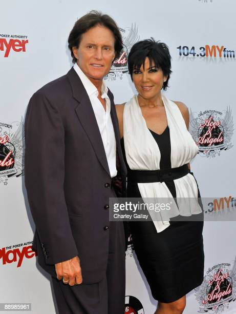 Television personalities Bruce and Kris Jenner arrive at the Aces Angels Celebrity Poker Party at The Playboy Mansion on July 11 2009 in Beverly...