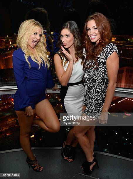 Television personalities Candace Weiss Desiree Hartsock and Tanya Schafer ride the world's tallest observation wheel The High Roller at The LINQ on...