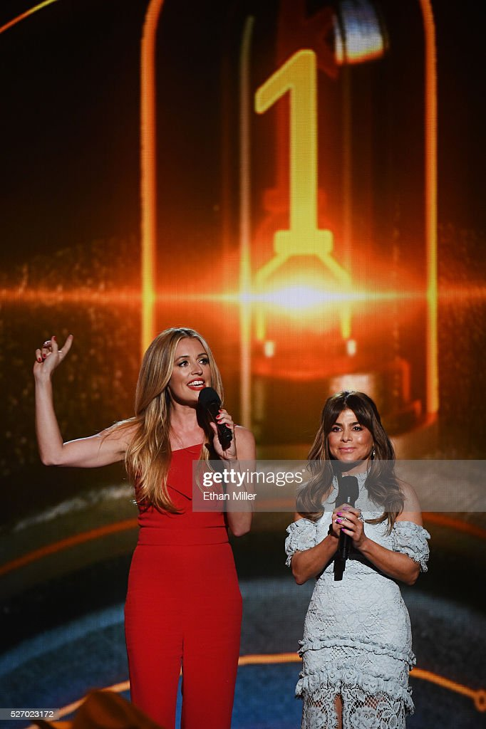 TV personalities <a gi-track='captionPersonalityLinkClicked' href=/galleries/search?phrase=Cat+Deeley&family=editorial&specificpeople=202554 ng-click='$event.stopPropagation()'>Cat Deeley</a> (L) and <a gi-track='captionPersonalityLinkClicked' href=/galleries/search?phrase=Paula+Abdul&family=editorial&specificpeople=202119 ng-click='$event.stopPropagation()'>Paula Abdul</a> speak onstage during the 2016 American Country Countdown Awards at The Forum on May 1, 2016 in Inglewood, California.