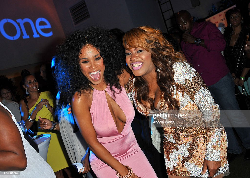 Television personalities Claudette Ortiz and Lil' Mo attend the 'R&B Divas LA' premiere event at The London on July 9, 2013 in West Hollywood, California.