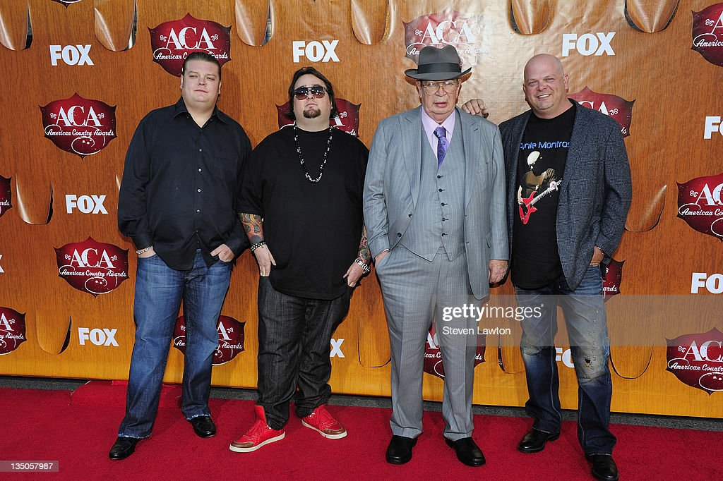 Television personalities <a gi-track='captionPersonalityLinkClicked' href=/galleries/search?phrase=Corey+Harrison&family=editorial&specificpeople=6584958 ng-click='$event.stopPropagation()'>Corey Harrison</a>, Austin 'Chumlee' Russell, Richard Harrison and <a gi-track='captionPersonalityLinkClicked' href=/galleries/search?phrase=Rick+Harrison&family=editorial&specificpeople=6584951 ng-click='$event.stopPropagation()'>Rick Harrison</a> of 'Pawn Stars' arrive at the American Country Awards at the MGM Grand Garden Arena on December 5, 2011 in Las Vegas, Nevada.