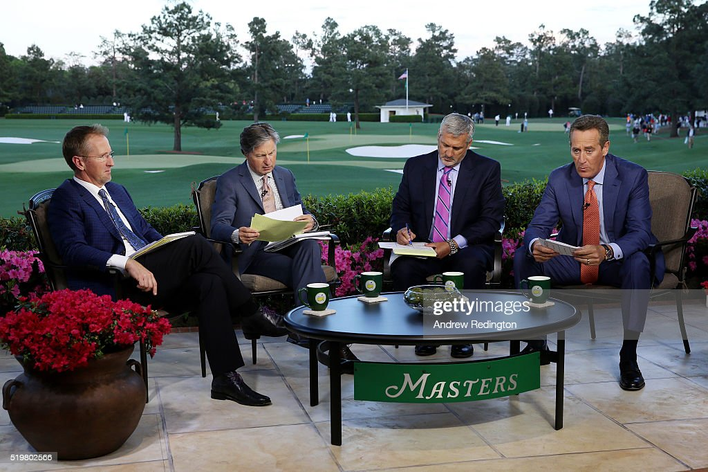 Television personalities (L-R) <a gi-track='captionPersonalityLinkClicked' href=/galleries/search?phrase=David+Duval&family=editorial&specificpeople=202132 ng-click='$event.stopPropagation()'>David Duval</a>, <a gi-track='captionPersonalityLinkClicked' href=/galleries/search?phrase=Brandel+Chamblee&family=editorial&specificpeople=3431577 ng-click='$event.stopPropagation()'>Brandel Chamblee</a>, <a gi-track='captionPersonalityLinkClicked' href=/galleries/search?phrase=Frank+Nobilo&family=editorial&specificpeople=2182242 ng-click='$event.stopPropagation()'>Frank Nobilo</a> and Rich Lerner appear on set during the first round of the 2016 Masters Tournament at Augusta National Golf Club on April 7, 2016 in Augusta, Georgia.