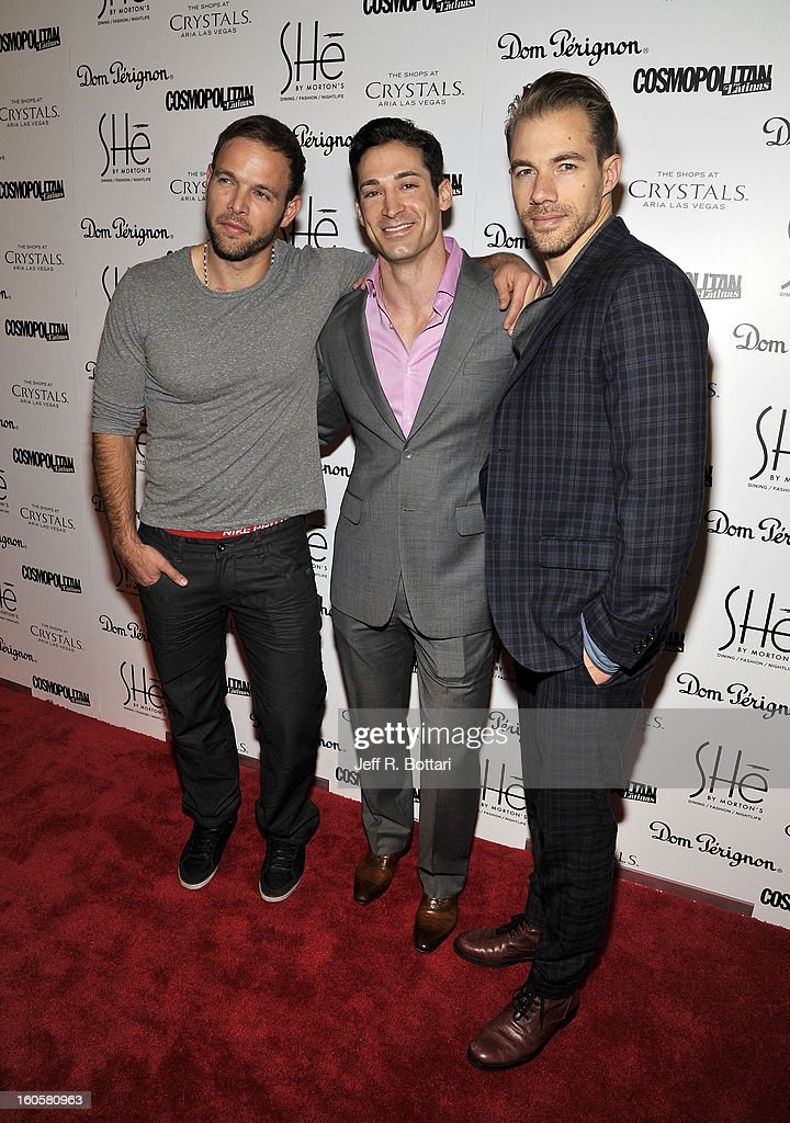 Television personalities Ernesto Arguello, Ben Patton and Tim Lopez from the television dating show 'Ready for Love' arrive at the grand opening of SHe by Morton's at Crystals at CityCenter on February 2, 2013 in Las Vegas, Nevada.
