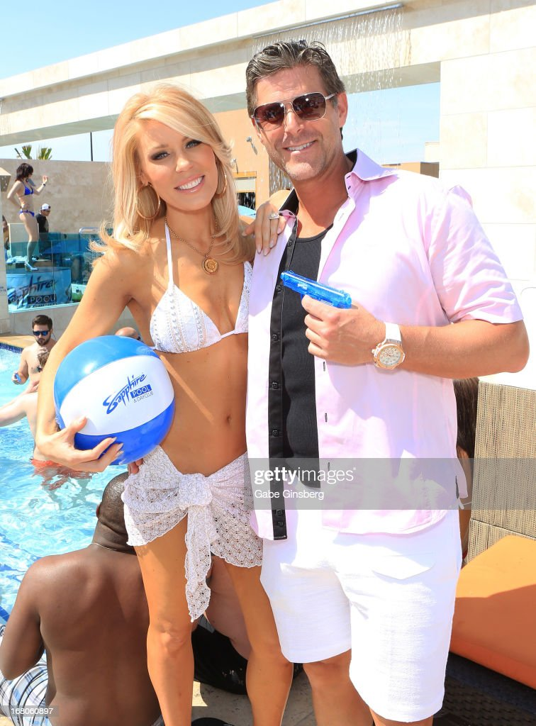 Television personalities Gretchen Rossi (L) and Slade Smiley pose at the Sapphire Pool & Day Club grand opening party on May 4, 2013 in Las Vegas, Nevada.