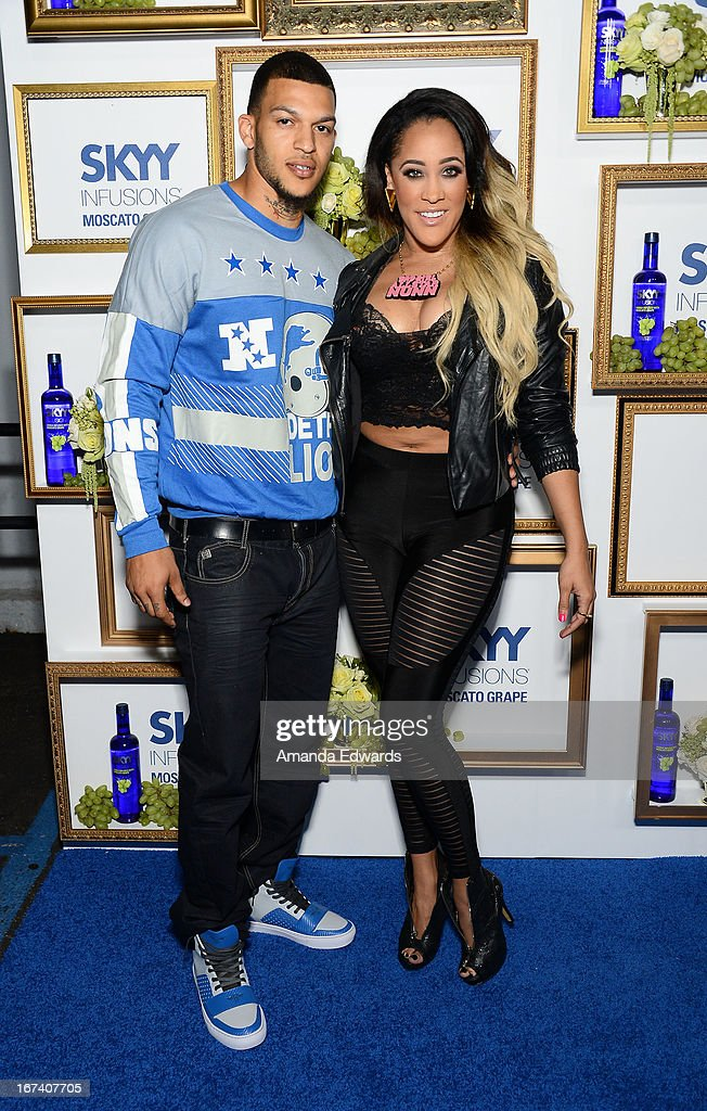 Television personalities Jacob Payne (L) and <a gi-track='captionPersonalityLinkClicked' href=/galleries/search?phrase=Natalie+Nunn&family=editorial&specificpeople=4630682 ng-click='$event.stopPropagation()'>Natalie Nunn</a> arrive at the debut of The House of Moscato launch party for the new SKYY Infusions Moscato Grape Vodka at Greystone Manor Supperclub on April 24, 2013 in West Hollywood, California.