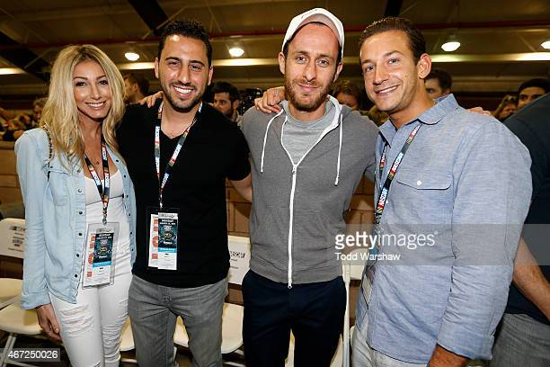 Television personalities James Harris David Parnes Josh Altman and his fiance Heather Bilyeu pose for a photo opportunity at the driver's meeting...