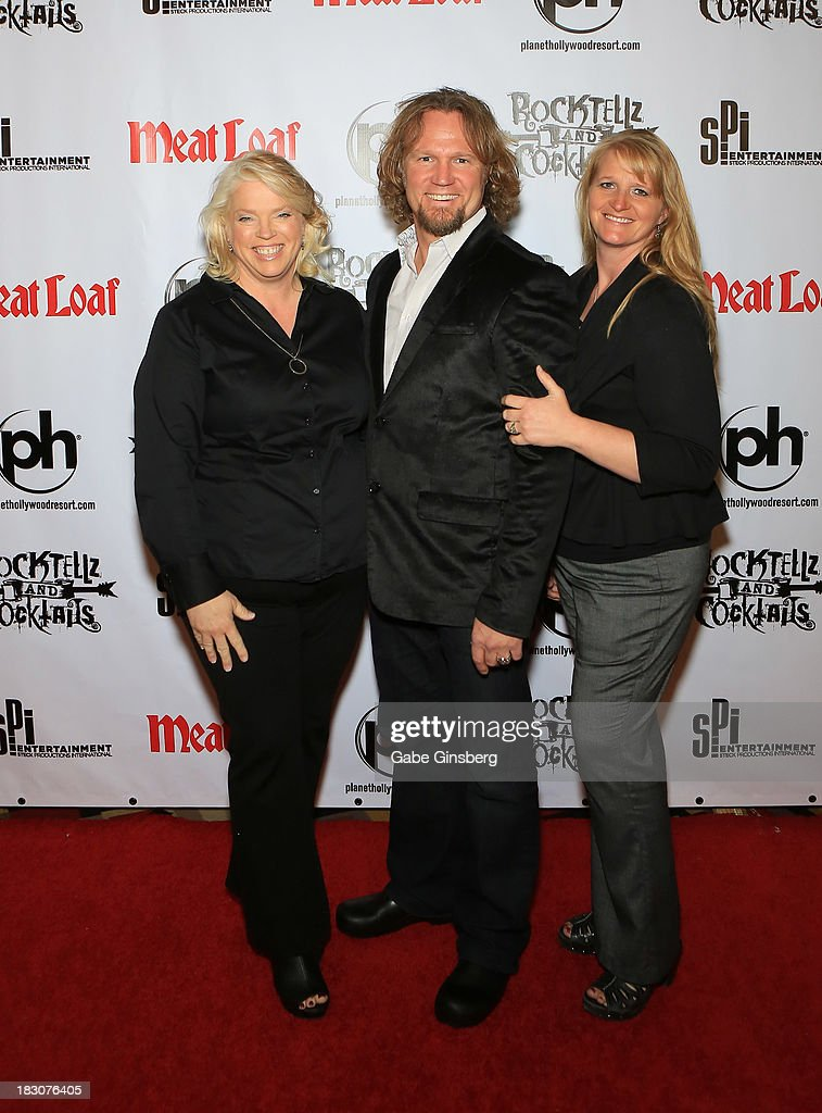 Television personalities Janelle Brown, Kody Brown and Christine Brown from 'Sister Wives' arrive at the show 'RockTellz & CockTails presents Meat Loaf' at Planet Hollywood Resort & Casino on October 3, 2013 in Las Vegas, Nevada.