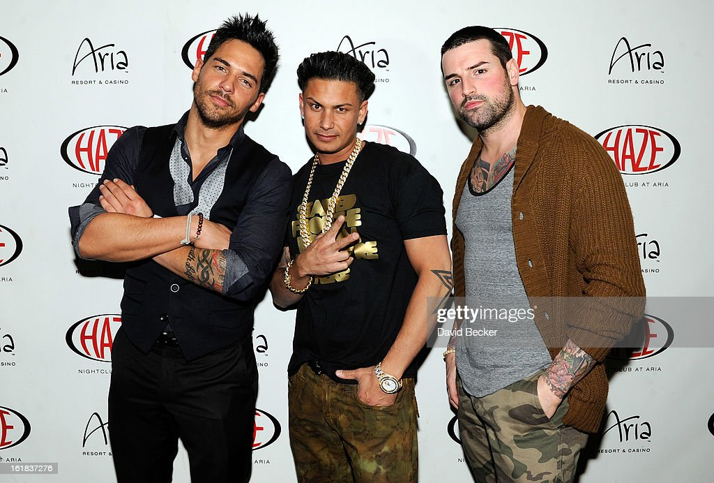 Television personalities Jason 'JROC' Craig, DJ Paul 'Pauly D' DelVecchio and Ryan Labbe arrive at Haze Nightclub at the Aria Resort & Casino at CityCenter on February 16, 2013 in Las Vegas, Nevada.