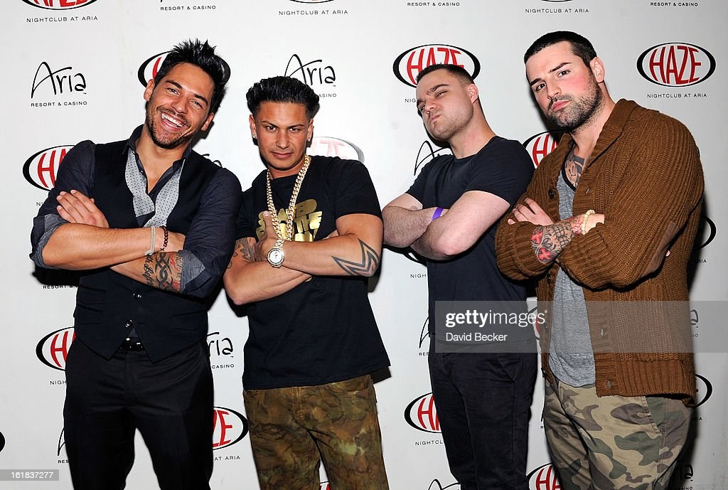 Television personalities Jason 'JROC' Craig, DJ Paul 'Pauly D' DelVecchio, DJ Eye and Ryan Labbe arrive at Haze Nightclub at the Aria Resort & Casino at CityCenter on February 16, 2013 in Las Vegas, Nevada.