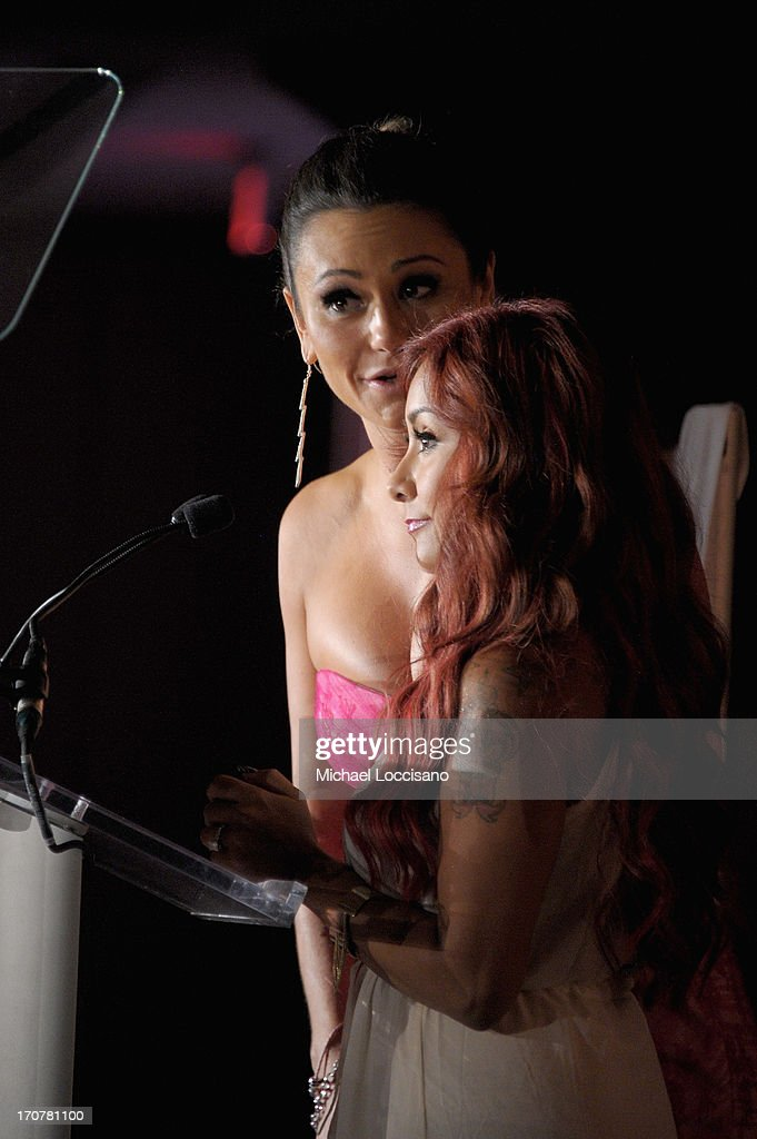 Television personalities Jenni 'JWoww' Farley (L) and Nicole 'Snooki' Polizzi speak on stage at TrevorLIVE New York at Pier Sixty at Chelsea Piers on June 17, 2013 in New York City.