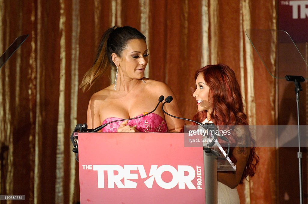 Television personalities Jenni 'JWoww' Farley (L) and Nicole 'Snooki' Polizzi speak on stage at The Trevor Project's 2013 'TrevorLIVE' Event Honoring Cindy Hensley McCain at Chelsea Piers on June 17, 2013 in New York City.
