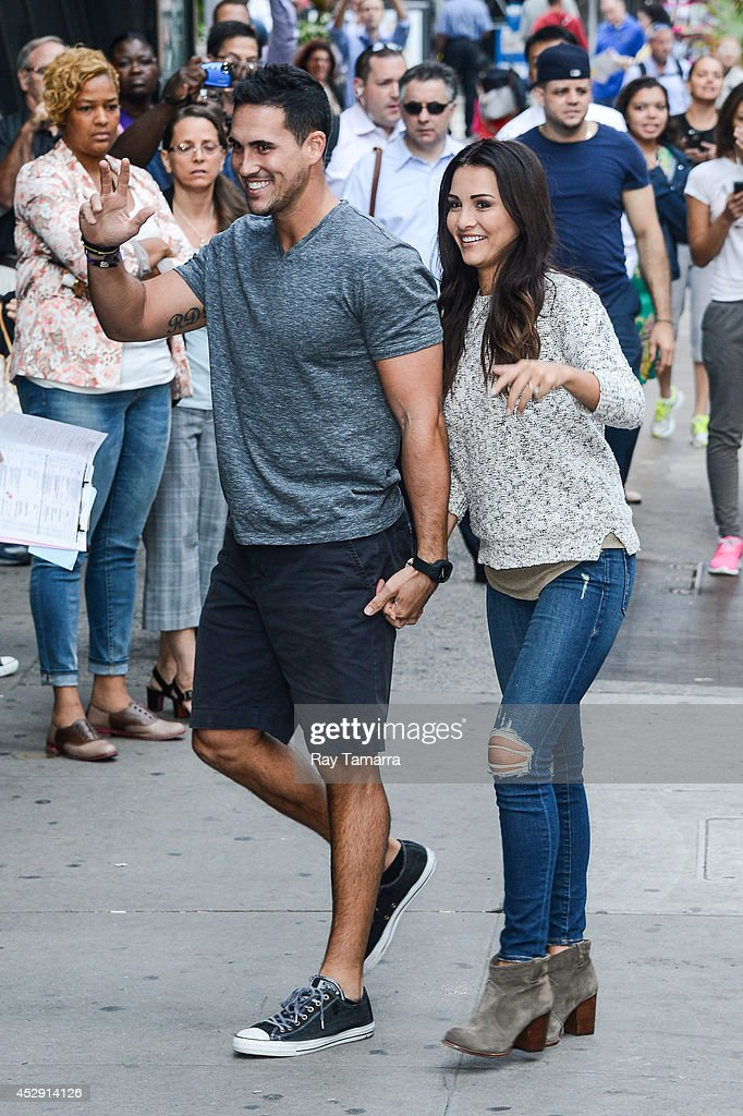 Television personalities Josh Murray (L) and Andi Dorfman enter the 'Good Morning America' taping at the ABC Times Square Studios on July 29, 2014 in New York City.