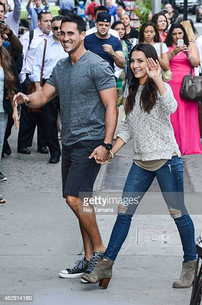 Television personalities Josh Murray and Andi Dorfman enter the 'Good Morning America' taping at the ABC Times Square Studios on July 29 2014 in New...