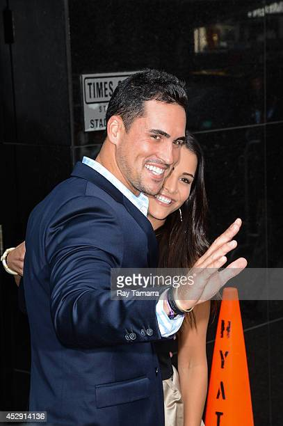 Television personalities Josh Murray and Andi Dorfman leave the 'Good Morning America' taping at the ABC Times Square Studios on July 29 2014 in New...