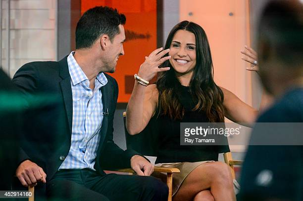 Television personalities Josh Murray and Andi Dorfman tape an interview at 'Good Morning America' at the ABC Times Square Studios on July 29 2014 in...