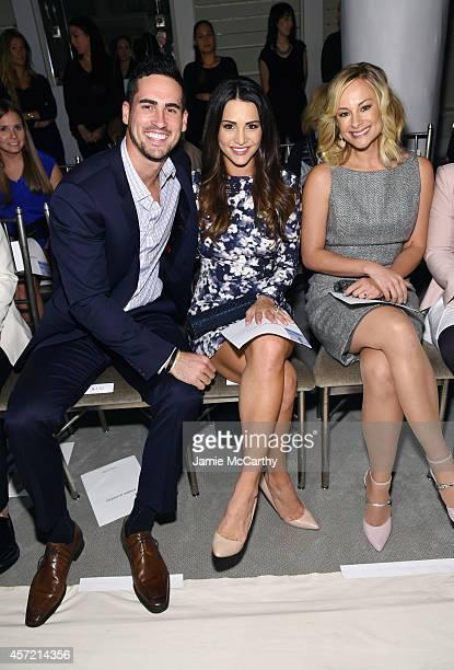 Television personalities Josh Murray Andi Dorfman and actress Alyshia Ochse sit front row at The Mark Zunino For Kleinfeld 2015 Runway Show at...