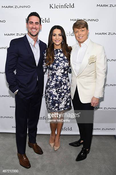 Television personalities Josh Murray Andi Dorfman and Kleinfeld Bridal Fashion Director Terry Hall attend front row at The Mark Zunino For Kleinfeld...