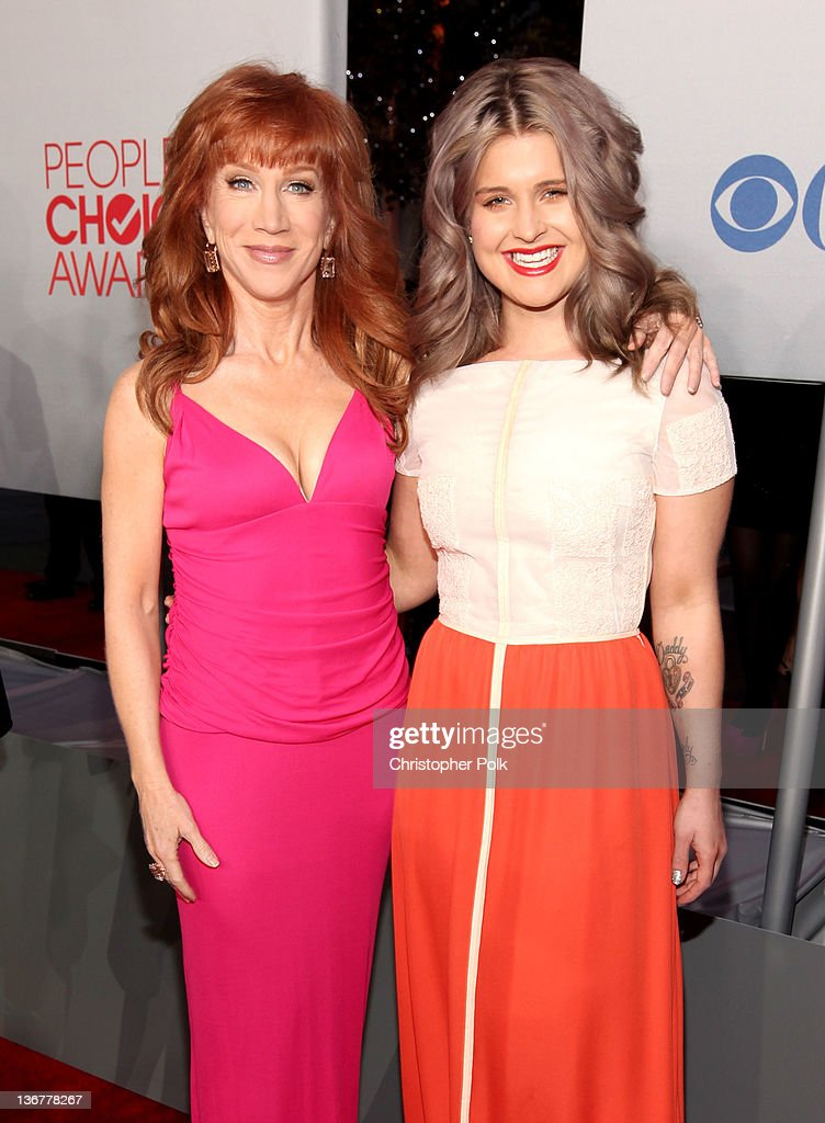 Television personalities Kathy Griffin and Kelly Osbourne arrive at the 2012 People's Choice Awards at Nokia Theatre LA Live on January 11 2012 in...