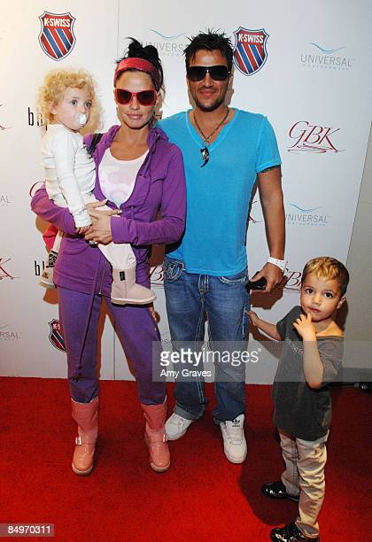 Television Personalities Katie Price Peter Andre Junior and Princess attend GBK's Oscar Lounge At SLS Hotel Day 2 on February 21 2009 in Los Angeles...