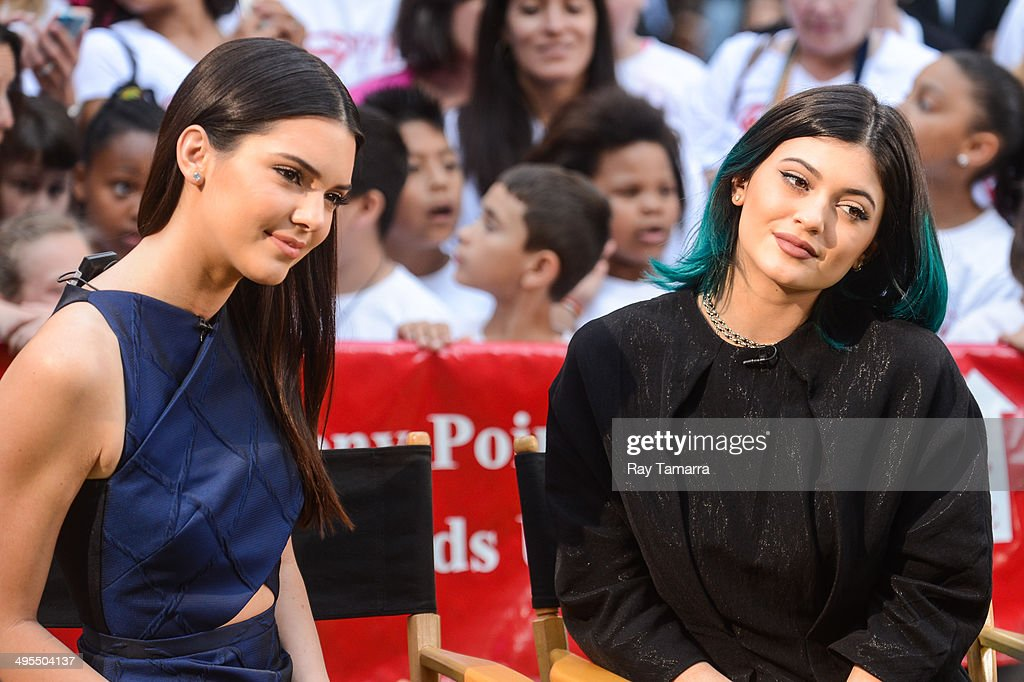 Television personalities <a gi-track='captionPersonalityLinkClicked' href=/galleries/search?phrase=Kendall+Jenner&family=editorial&specificpeople=2786662 ng-click='$event.stopPropagation()'>Kendall Jenner</a> (L) and <a gi-track='captionPersonalityLinkClicked' href=/galleries/search?phrase=Kylie+Jenner&family=editorial&specificpeople=870409 ng-click='$event.stopPropagation()'>Kylie Jenner</a> tape an interview at 'Good Morning America' at the ABC Times Square Studios on June 3, 2014 in New York City.