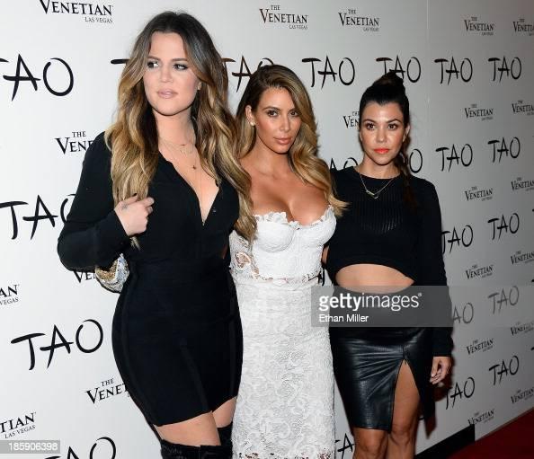 Television personalities Khloe Kardashian Kim Kardashian and Kourtney Kardashian arrive at the Tao Nightclub at The Venetian Las Vegas to celebrate...