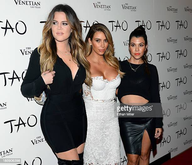 Television personalities Khloe Kardashian Kim Kardashian and Kourtney Kardashian arrive at the Tao Nightclub at The Venetian Las Vegas to celebrate...