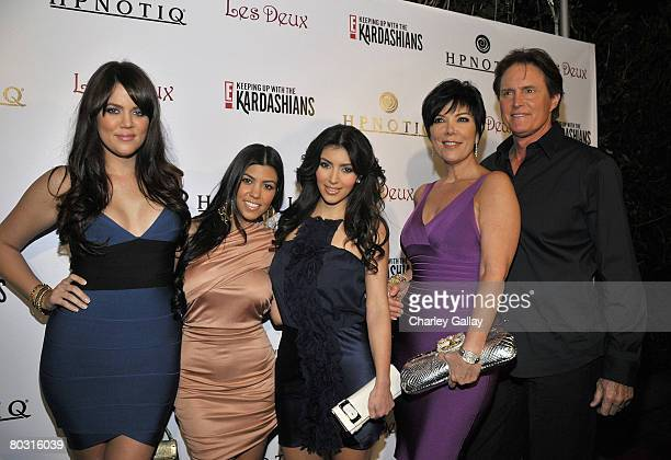 Television personalities Khloe Kardashian Kourtney Kardashian and Kim Kardashian Kris Jenner and Olympic gold medalist Bruce Jenner attend the season...
